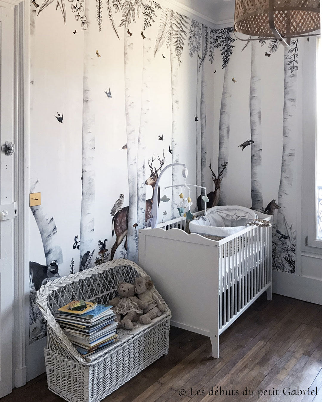 Wallpaper for baby's room - Forest animals - Bespoke wall mural Woody Chesnut by Les Dominotiers © Les débuts du petit Gabriel