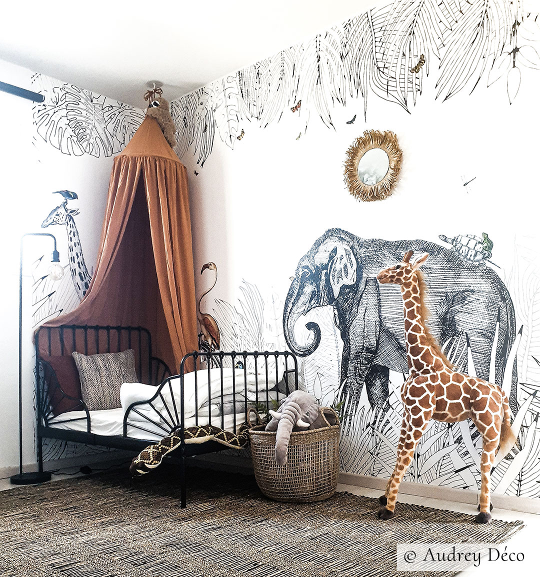 Wallpaper for children's room - Animals - Metrozoo from Les Dominotiers - © Audrey Deco