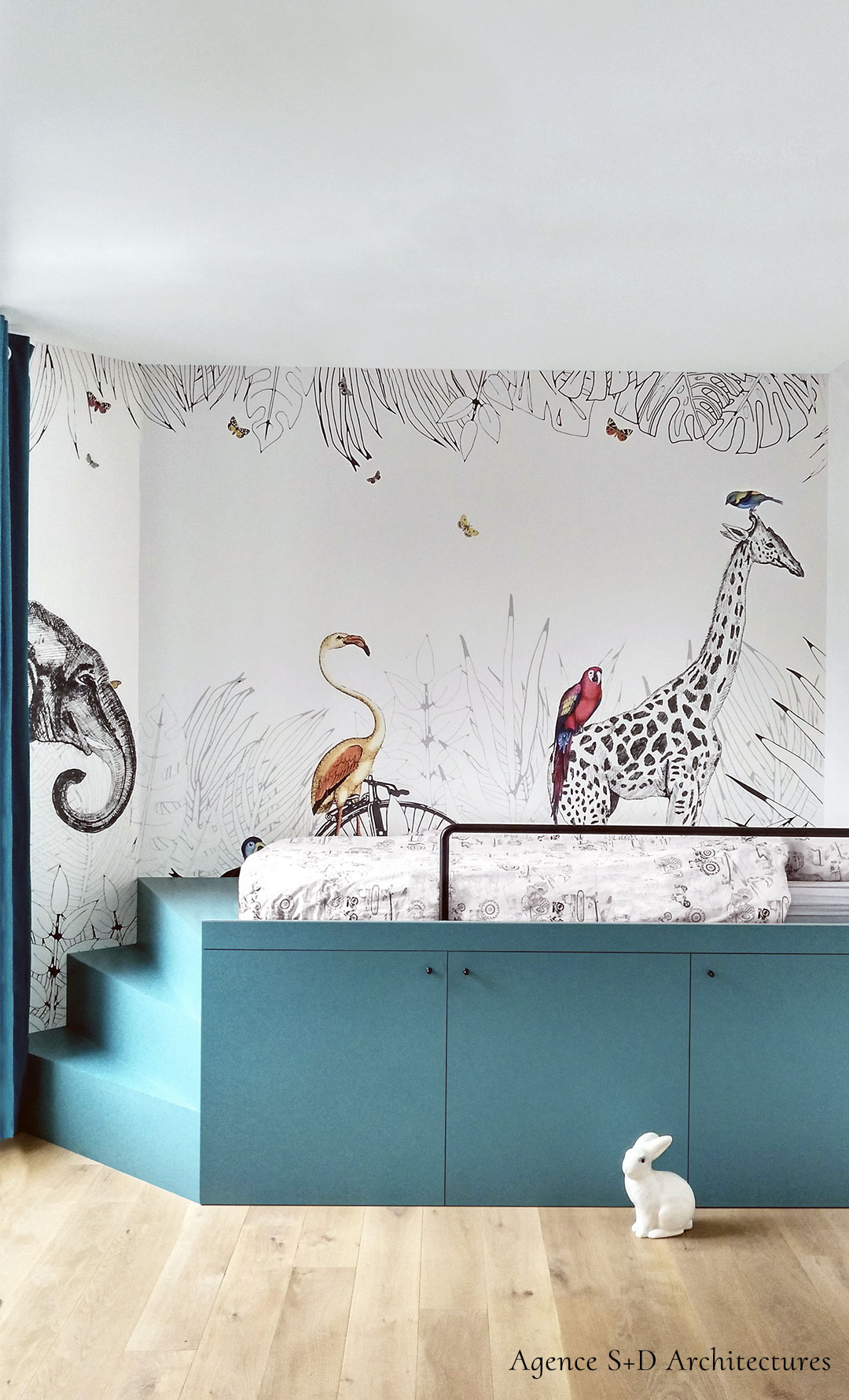 Wallpaper for kid's room - Animals - Metrozoo by Les Dominotiers © S+D Architectures