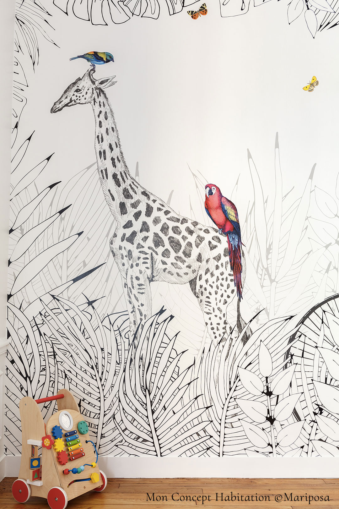 Wallpaper for kids - Animals - Wall mural Metrozoo by Les Dominotiers © Mon concept habitation © Mariposa