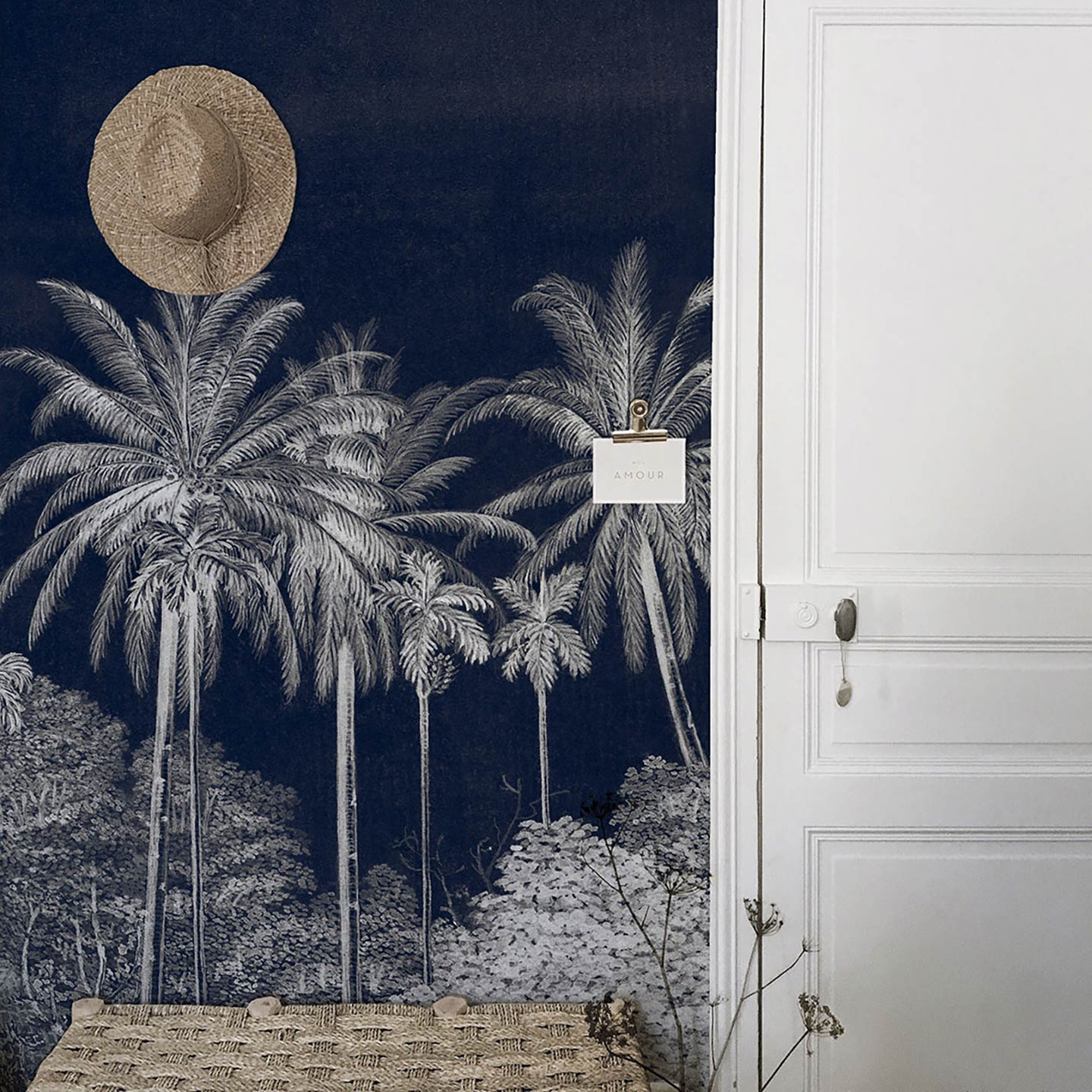Tropical panoramic wallpaper Palm Grove Midnight by Les Dominotiers