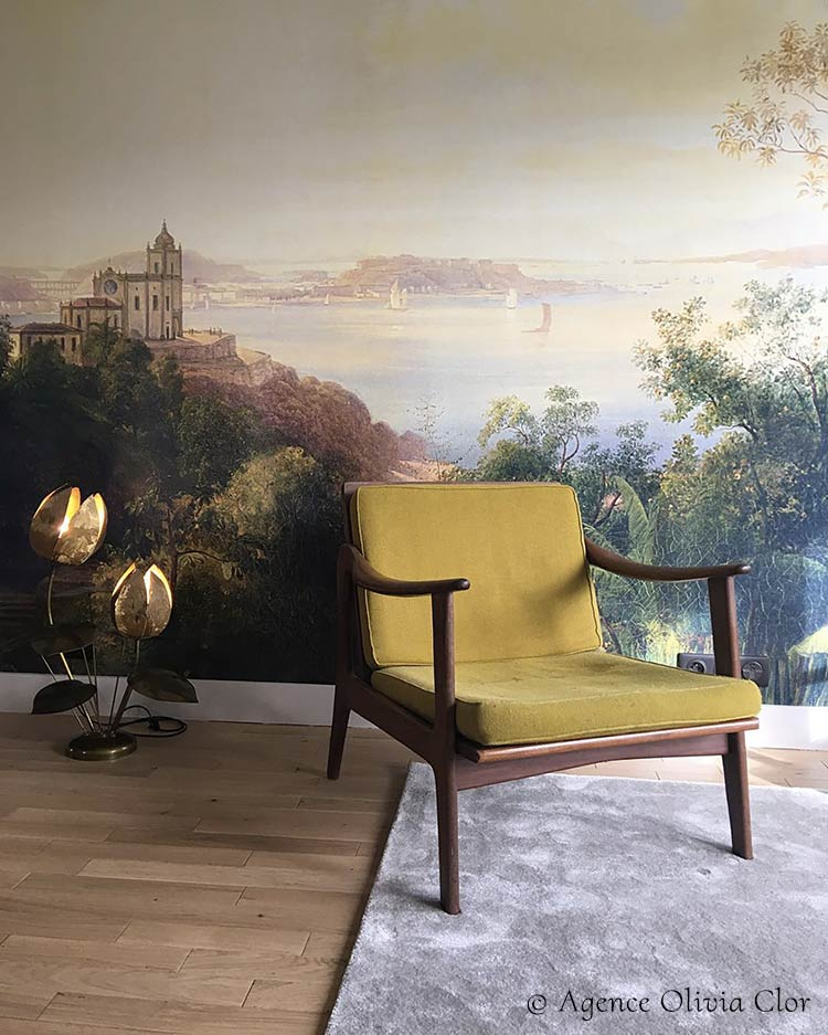 Tropical panoramic wallpaper Gloria by Les Dominotiers © Olivia Clor