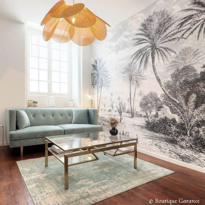 Tropical panoramic wallpaper Oasis by Les Dominotiers © Boutique Garance